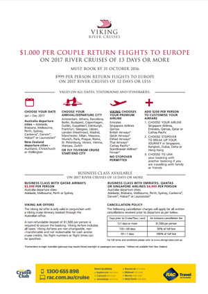 Viking Cruises sae $1000 per couple
