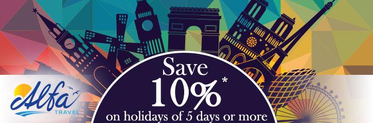 Alfa Travel 10% Sale - Save on Leisureplex Self Drive Breaks too!