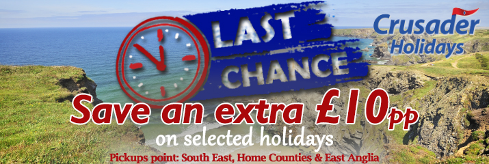 Crusader Holidays - Save an extra £10pp on holidays departing between 18/09/2016 and 18/11/2016