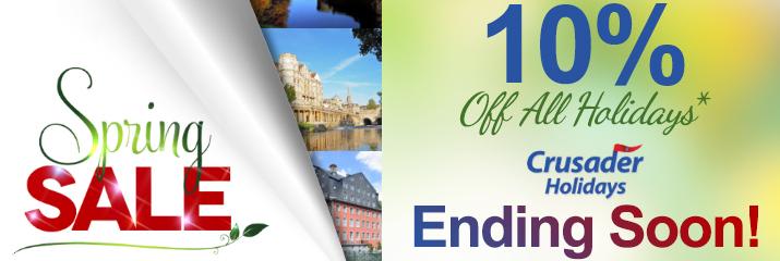 Crusader Holidays - Spring Sale - Save 10%
