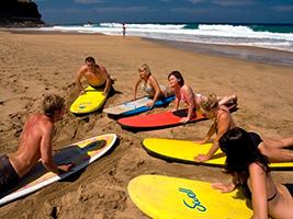 Surfing waves in Corralejo