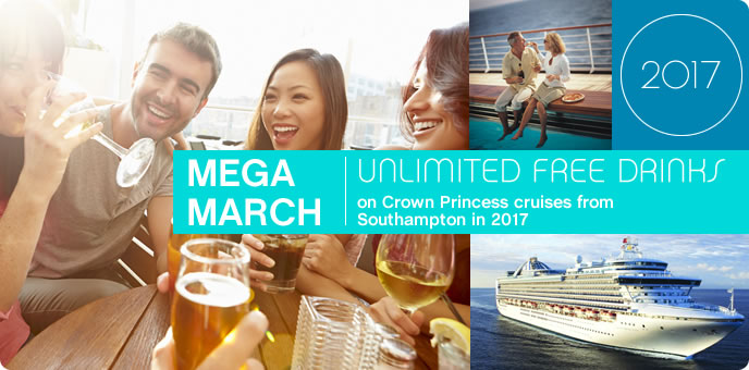 Princess Cruises - Free Drinks on Crown Princess 2017