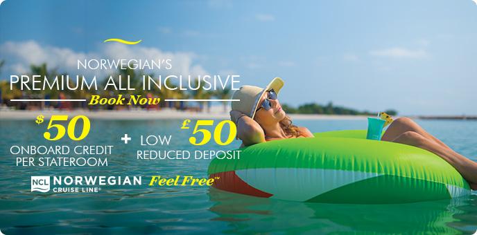Norwegian Cruise Line - up to $50 Onboard Credit + £50 deposit