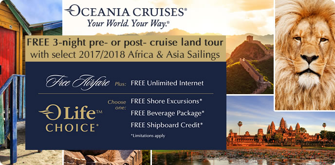 Oceania Cruises - Free 3-night Land Tour in Africa or Asia