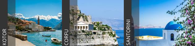 Kotor, Corfu and Santorini