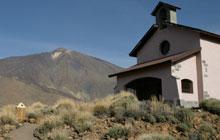 Chapel being overlooked by the El Teide Volcano, Tenerife