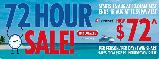 Carnival Cruises 72hr Sale